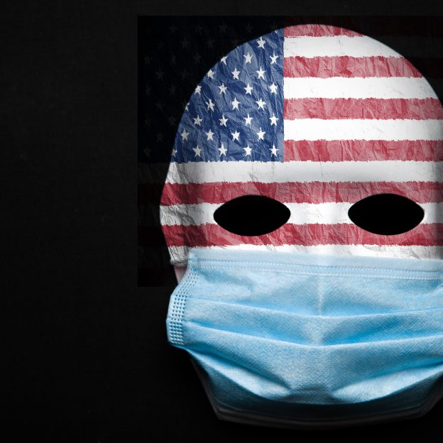 american flag face with mask on